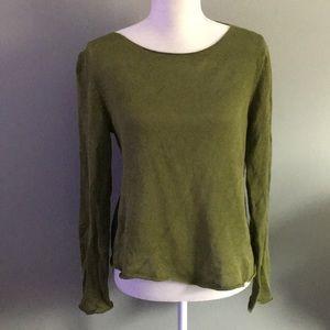 Eileen Fisher olive green crewneck sweater